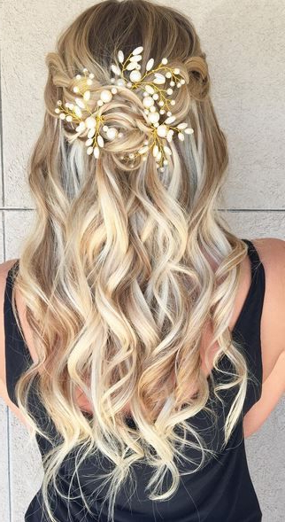 Half Up Updo Hairstyle Idea … | Let Your Hair Down | Prom … Regarding Curled Floral Prom Updos (View 4 of 25)