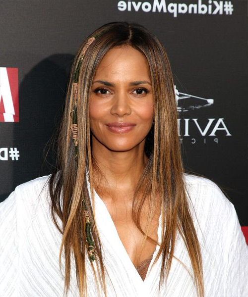 Halle Berry Casual Long Straight Hairstyle – Brunette Hair Color Pertaining To Halle Berry Long Hairstyles (View 7 of 25)