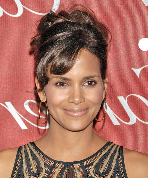 Halle Berry Formal Long Curly Updo Hairstyle With Side Swept Bangs Inside Pinned Up Curls Side Swept Hairstyles (View 22 of 25)