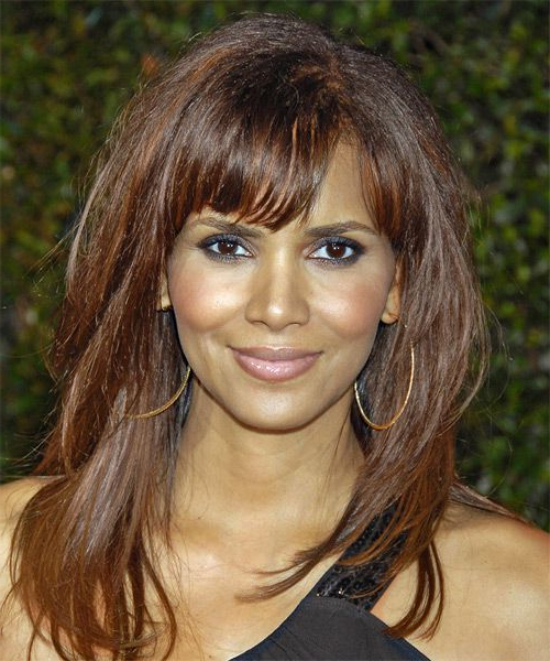 Halle Berry Long Straight Casual Hairstyle With Blunt Cut Bangs Within Halle Berry Long Hairstyles (View 9 of 25)