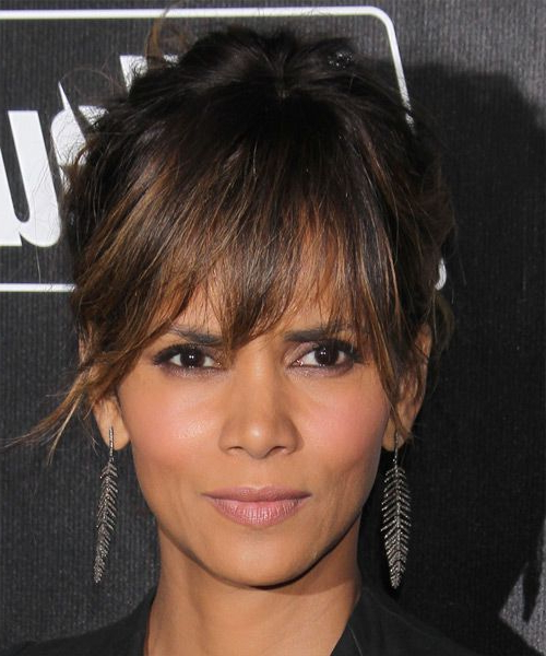 Halle Berry Long Straight Casual Updo Hairstyle With Layered Bangs With Regard To Halle Berry Long Hairstyles (View 5 of 25)