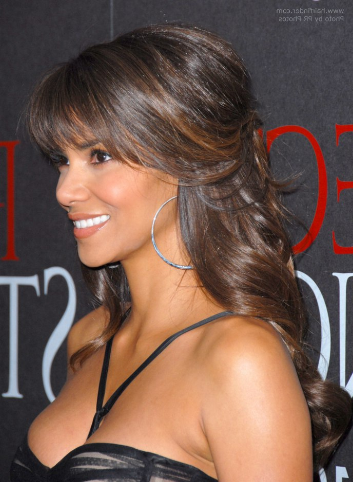 Halle Berry's Hairstyle With Curls That Cascade Down Her Back Inside Halle Berry Long Hairstyles (View 15 of 25)