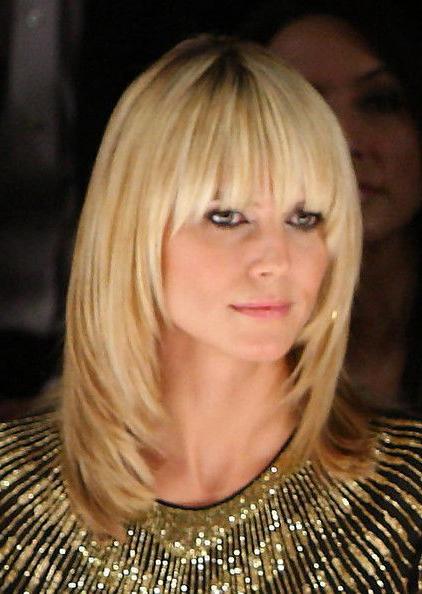 Heidi Klum Medium Straight Cut With Bangs   Hair Ideas   Long Hair For Long Hairstyles That Frame Your Face (View 11 of 25)