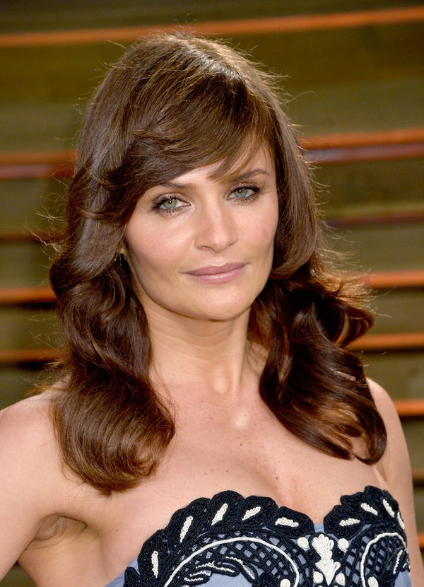 Helena Christensen Layered Long Brown Wavy Hairstyle With Bangs For Intended For Long Hairstyles For Women Over 40 With Bangs (View 19 of 25)