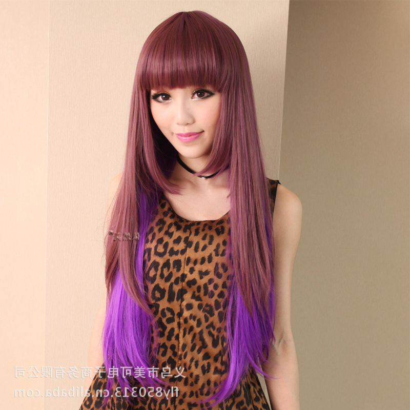 Hot ! Wholesale Japanese Long Straight Hair Color Gradient Realistic In Long Straight Japanese Hairstyles (View 9 of 25)