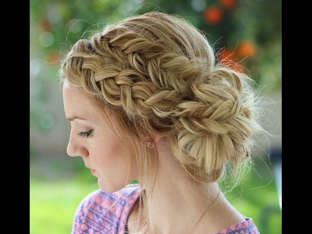 How To: Dutch Braid And Dutch Fishtail Braid Messy Bun – Youtube Within Formal Dutch Fishtail Prom Updos (View 3 of 25)