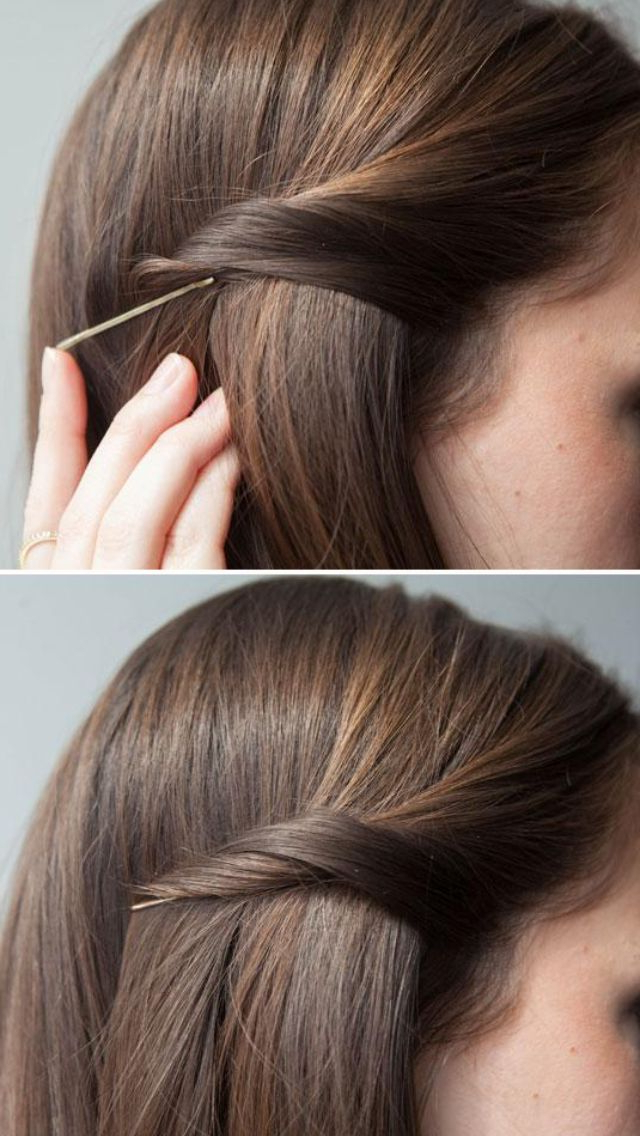 How To Pin Your Hair Back And Hide The Bobby Pin | Hair Ideas | Hair With Long Hairstyles With Bobby Pins (View 13 of 25)