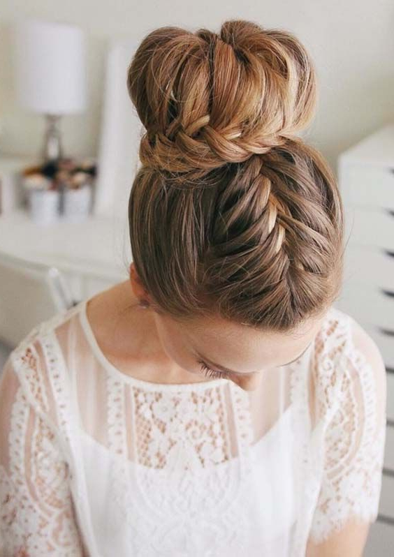 In This Post, We Have Compiled A List Of Best French And Lace Intended For Fishtailed Snail Bun Prom Hairstyles (View 11 of 25)