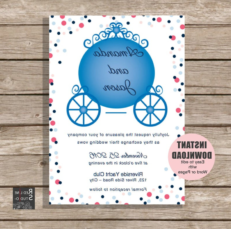 Instant Download Princess Carriage Wedding Invitation | Etsy For Princess Like Side Prom Downdos (View 11 of 25)