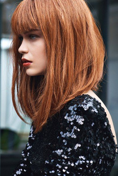 Inverted Bob With Ombre Long Bob With Bangs | Hair Style Ideas Pertaining To Long Bob Hairstyles With Bangs (View 2 of 25)