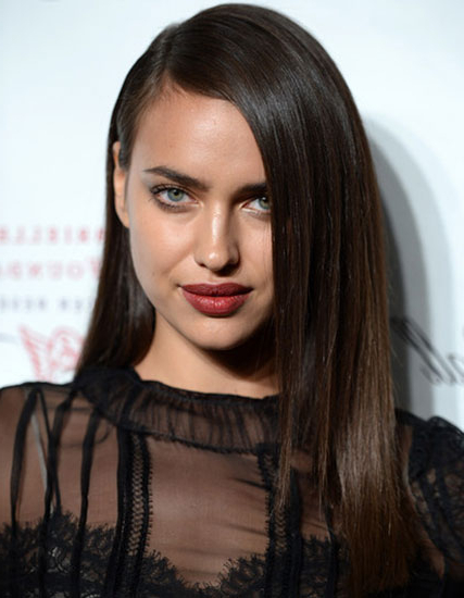 Irina Shayk's Long Straight Hairstyle With Deep Side Part – Bal Within Long Hairstyles Deep Side Part (View 19 of 25)