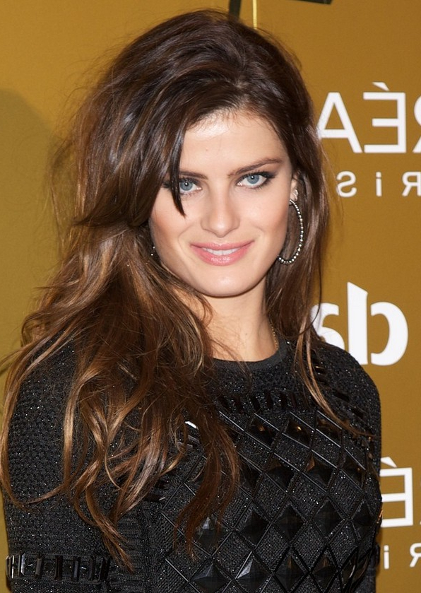 Isabeli Fontana Layered Long Brunette Hairstyle With Bangs For Long Hairstyles Brunette Layers (View 24 of 25)