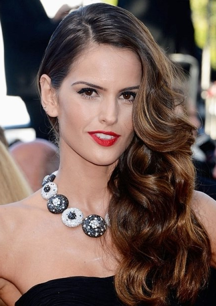 Izabel Goulart's Wavy Side Swept Hairstyle – Prom, Wedding, Formal Pertaining To Side Swept Brunette Waves Hairstyles For Prom (View 12 of 25)