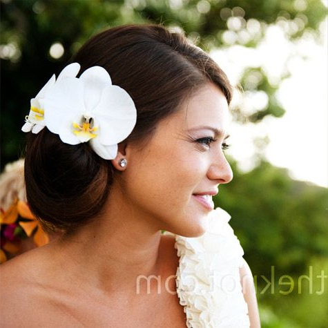 Jana Went Sans-Veil And Wore Her Hair In A Low Side Bun With Two in Side Bun Prom Hairstyles With Orchids