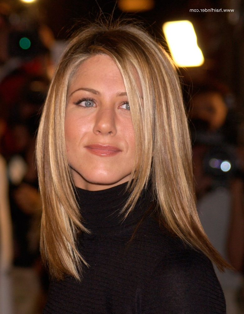 Jennifer Aniston   Sleek Ironed Hair With Natural Blended Highlights inside Jennifer Aniston Long Haircuts