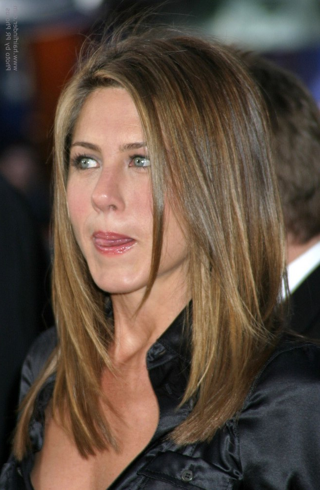 Jennifer Aniston's Hair Cut In Long Layers With Angles Along The Sides Pertaining To Long Layered Hairstyles Jennifer Aniston (View 4 of 25)