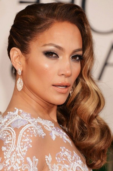 Jennifer Lopez Hairstyles: Side-Swept Long Curls For An Edgy Look intended for Side Swept Curls And Draped Bangs Hairstyles