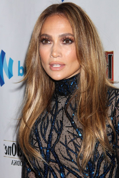 Jennifer Lopez Straight Medium Brown All-Over Highlights, Angled with regard to Long Layered Hairstyles Jennifer Lopez