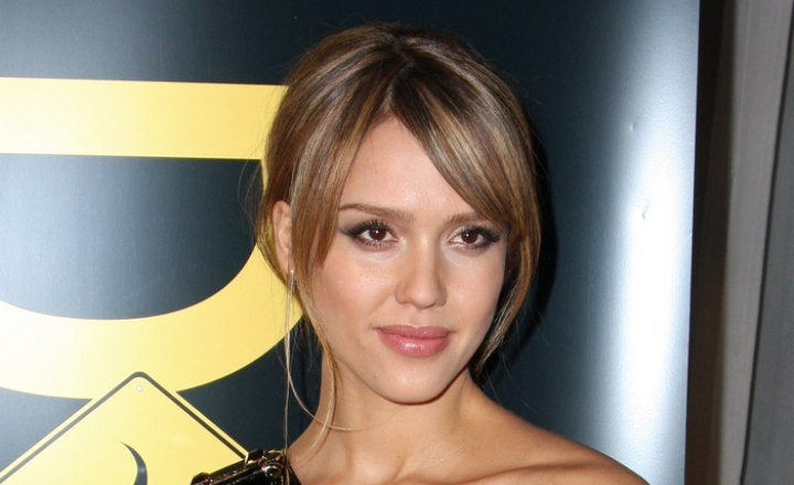 Jessica Alba | Hairstyle With A Long Fringe And A Nape Area Knot in Jessica Alba Long Hairstyles