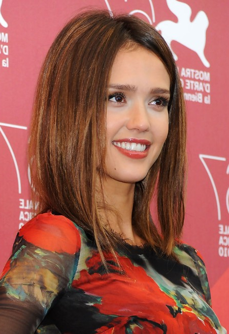 Jessica Alba Medium Straight Brunette Bob Hairstyle - Hairstyles Weekly intended for Jessica Alba Long Hairstyles