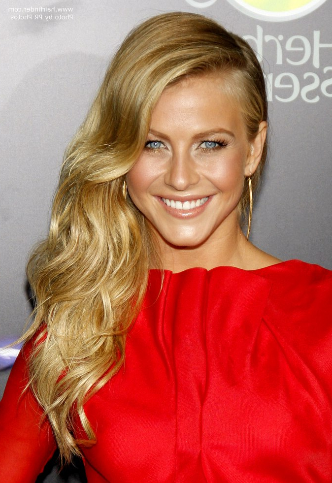 Julianne Hough Wearing Her Long Blonde Hair Swept To One Side inside Long Hairstyles To One Side