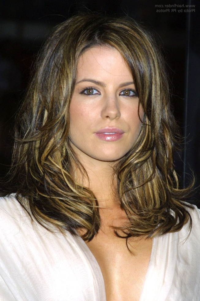 Kate Beckinsale's Tousled Hair With Multiple Colors Intended For Long Tousled Layers Hairstyles (View 25 of 25)
