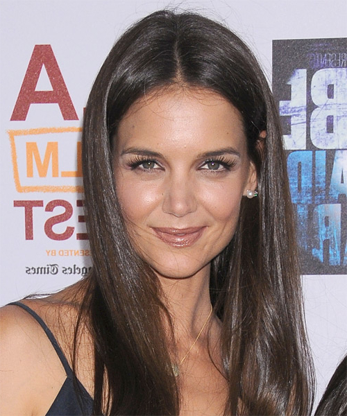 Katie Holmes Casual Long Straight Hairstyle – Brunette Hair Color Intended For Katie Holmes Long Hairstyles (View 12 of 25)