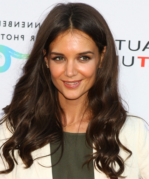 Katie Holmes Casual Long Wavy Hairstyle – Mocha Hair Color Pertaining To Katie Holmes Long Hairstyles (View 2 of 25)