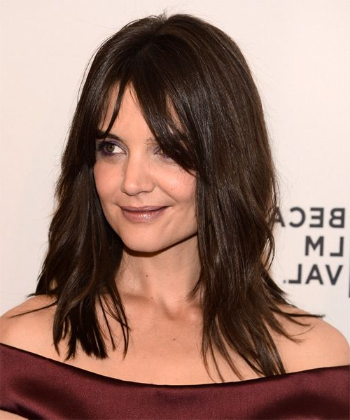 Katie Holmes Long Straight Casual Hairstyle With Layered Bangs Pertaining To Katie Holmes Long Hairstyles (View 10 of 25)