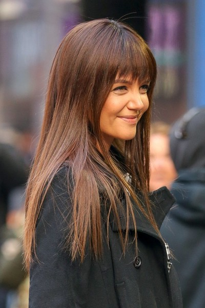 Katie Holmes Long Straight Cut With Bangs – Katie Holmes Long Pertaining To Katie Holmes Long Hairstyles (View 3 of 25)