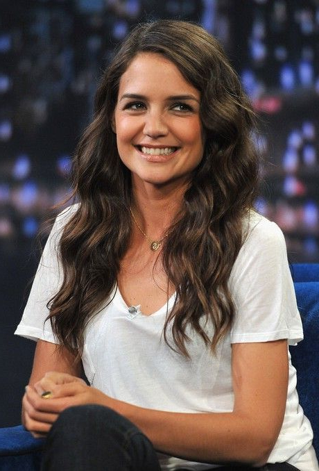 Katie Holmes Sweet Side Parted Long Wavy Hairstyle | A Good Hair Day Pertaining To Katie Holmes Long Hairstyles (View 21 of 25)