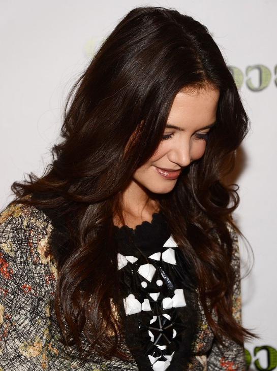 Katie Holmes Trendy Dark Golden Brown Long Hairstyle – Popular Haircuts With Dark Brown Long Hairstyles (View 7 of 25)