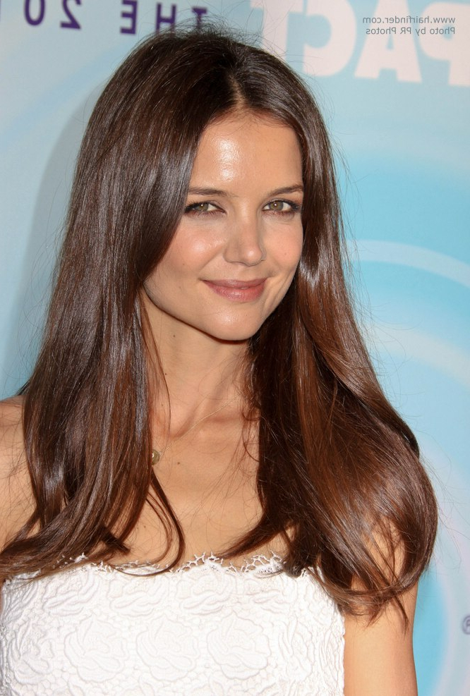 Katie Holmes With Long Chestnut Hair Flowing Below Her Shoulders For Katie Holmes Long Hairstyles (View 11 of 25)