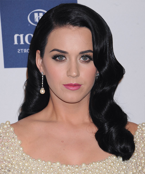 Katy Perry Formal Long Wavy Hairstyle – Black Ash Hair Color With Regard To Katy Perry Long Hairstyles (View 4 of 25)