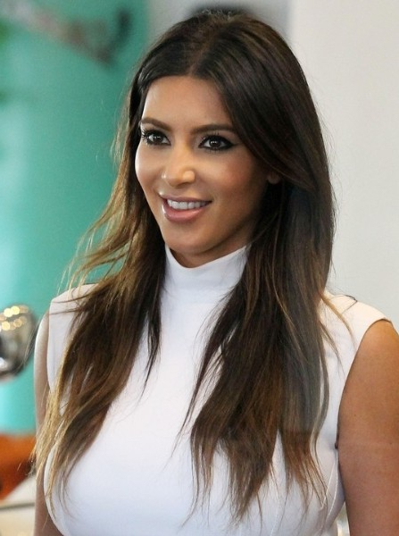 Kim Kardashian Casual Brown Long Haircuts – Popular Haircuts In Long Hairstyles Brown (View 22 of 25)