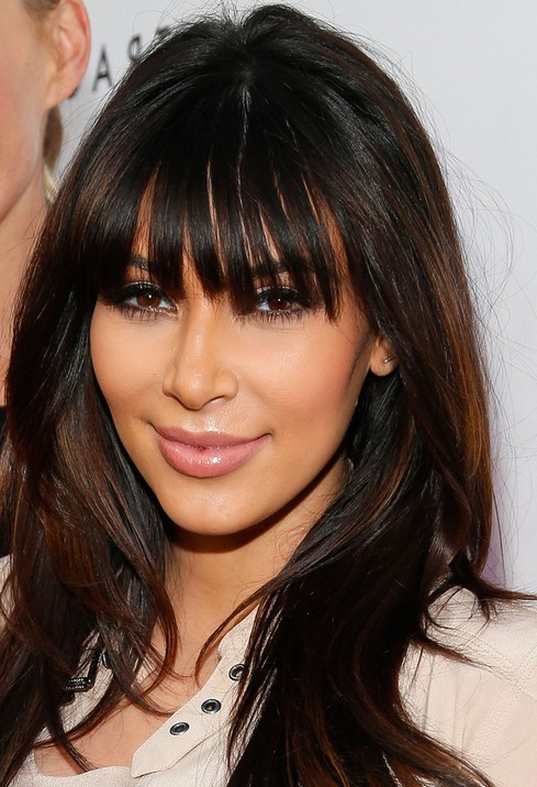 Kim Kardashian Haircuts: 2014 Long Hairstyles For Blunt Bangs Regarding Blunt Long Hairstyles (View 24 of 25)