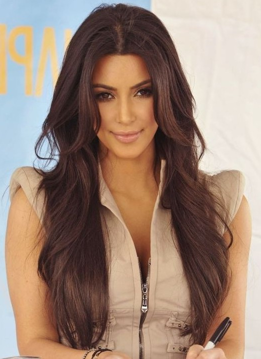 Kim Kardashian Long Hairstyles: Brown Hair – Popular Haircuts Inside Long Hairstyles Brown (View 6 of 25)