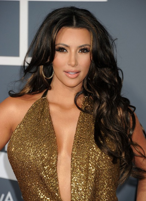 Kim Kardashian Long Hairstyles – Center Parted Hairstyles For Curls Inside Long Hairstyles Parted In The Middle (View 11 of 25)