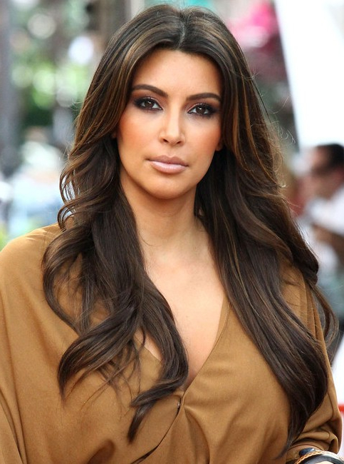 Kim Kardashian Long Hairstyles: Center Parted Hairstyles – Popular In Long Hairstyles Centre Parting (View 14 of 25)
