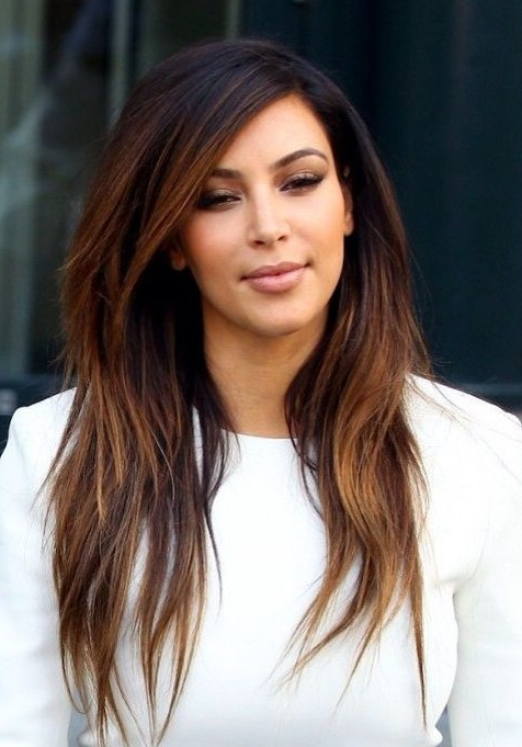 Kim Kardashian Long Hairstyles: Ombre Hairstyles For Straight For Straight Layered For Long Hairstyles (View 19 of 25)