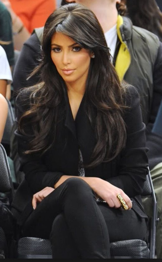 Kim Kardashian Long Layers. Side Bang. Long Hair (View 2 of 25)