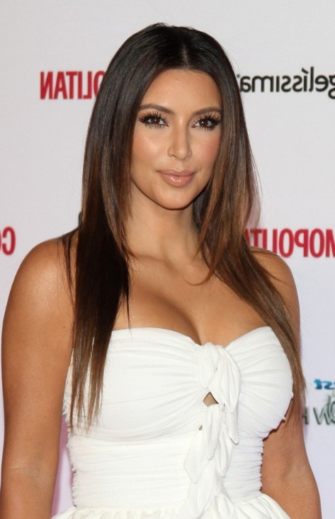 Kim Kardashian Long Sleek Hairstyle – Hairstyles Weekly Regarding Long Hairstyles Kim Kardashian (View 14 of 25)
