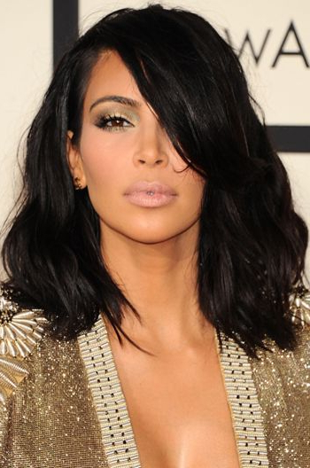 Kim Kardashian Shoulder Length Haircut Messy Bob 14 Inch Lace Front With Regard To Long Bob Hairstyles Kim Kardashian (View 10 of 25)