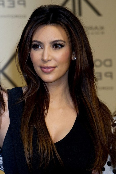 Kim Kardashian Sleek Long Hairstyle For Straight Hair – Popular Haircuts With Kim Kardashian Long Hairstyles (View 8 of 25)