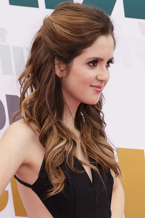 Laura Marano Wavy Medium Brown Half Up Half Down, Pinned Back With Long Hairstyles Pinned Back (View 15 of 25)