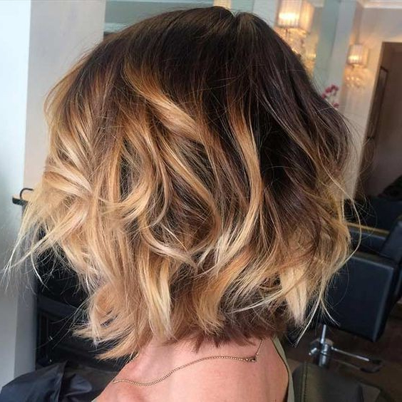 Layered, Curly Bob Haircut – Balayage Hair Styles – Golden Caramel With Curly Golden Brown Balayage Long Hairstyles (View 18 of 25)