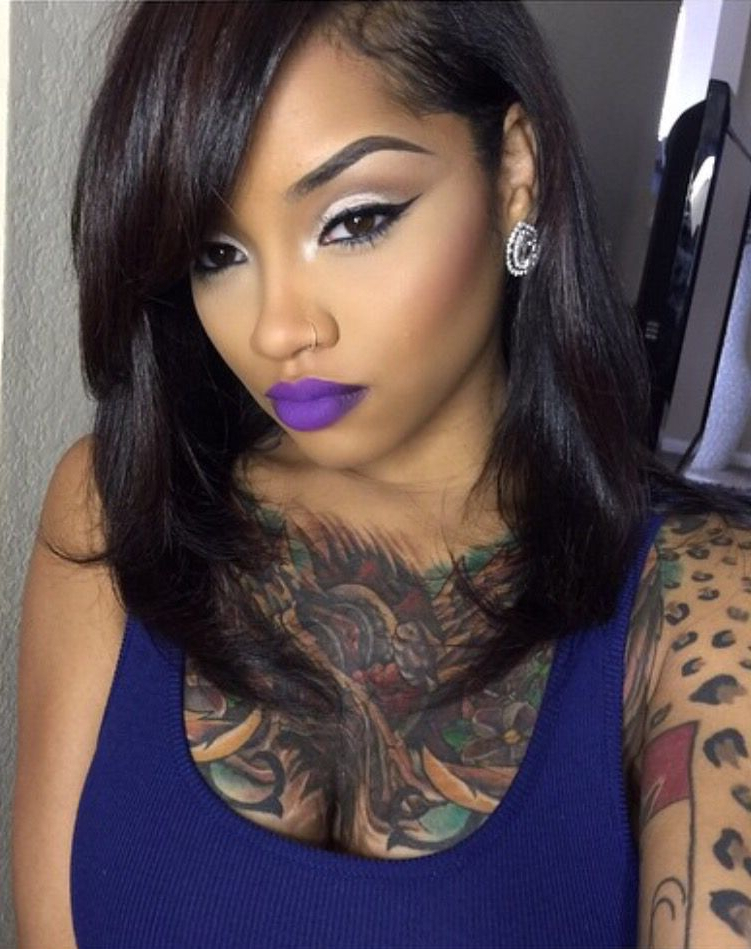 Lipstick Is Great   ~~**queens Of Ink**~~ In 2019   Hair Pictures Pertaining To Cute Long Hairstyles For Black Women (View 3 of 25)