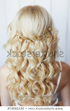 Long Blonde Curly Hair Tender Wedding Stock Photo (Edit Now With Long Curly Hairstyles For Wedding (View 22 of 25)