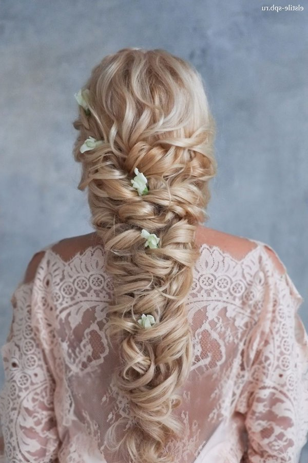 Long Curly Braided Hairstyle With Flowers | Deer Pearl Flowers With Regard To Long Curly Braided Hairstyles (View 25 of 25)