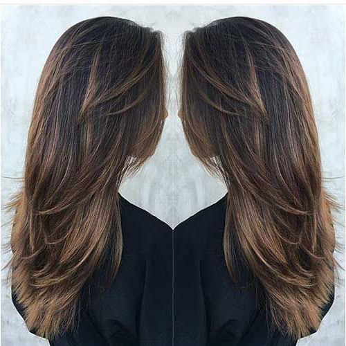 Long Deep Brown Hair With Tawny Brown Balayage And Lots Of Layers Intended For Balayage Hairstyles For Long Layers (View 9 of 25)